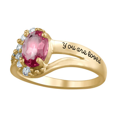 Artcarved Personalized Womens Multi Color Stone 10K Gold Over Silver Oval Band
