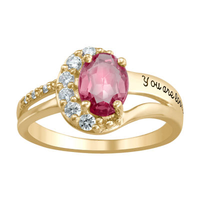 Artcarved Personalized Womens Simulated Multi Color Stone 14K Gold Band