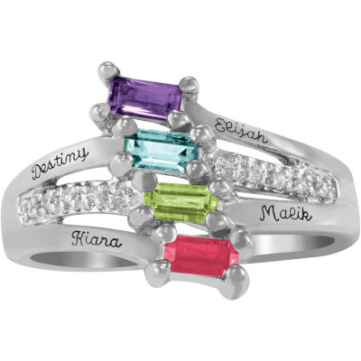 Artcarved Celebrations Of Life Womens Multi Color Stone Sterling Silver Band