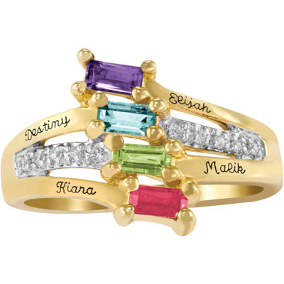 Artcarved Celebrations Of Life Womens Simulated Multi Color Stone 10K Gold Band