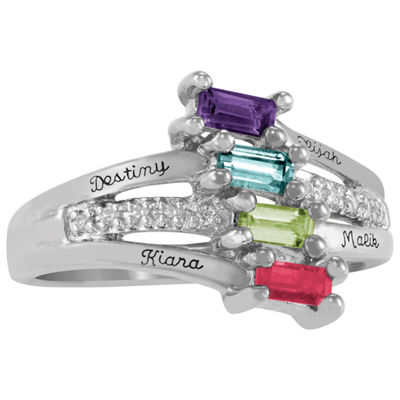 Artcarved Celebrations Of Life Womens Multi Color Stone 14K White Gold Band