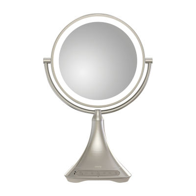 """iHome iCVBT7 9"""" Portable and Rechargeable Double-Sided Vanity Mirror with Bluetooth Speaker"""