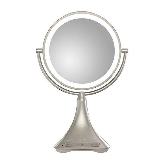 "iHome iCVBT7 9"" Portable and Rechargeable Double-Sided Vanity Mirror with Bluetooth Speaker"