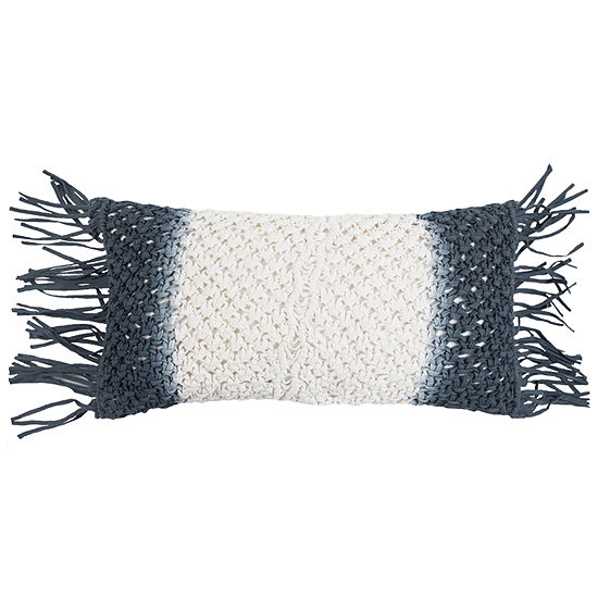 Rizzy Home 11x21 IN Margie Eyelet Cotton Oblong Decorative Pillow