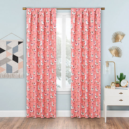 Eclipse Llama Drama Blackout Rod-Pocket Single Curtain Panel