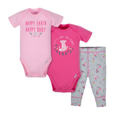 Gerber 3-pc. Bodysuit Set-Baby Girls