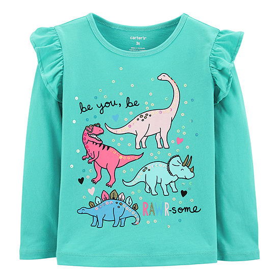Carter's Girls Round Neck Long Sleeve Graphic T-Shirt Baby