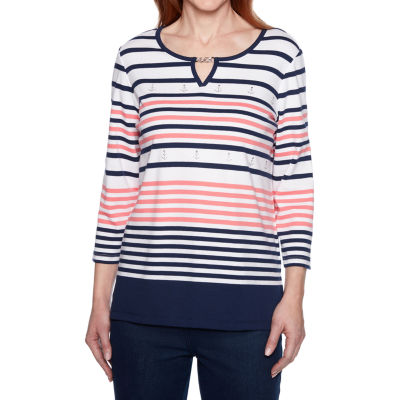 Alfred Dunner Smooth Sailing Womens Crew Neck 3/4 Sleeve T-Shirt