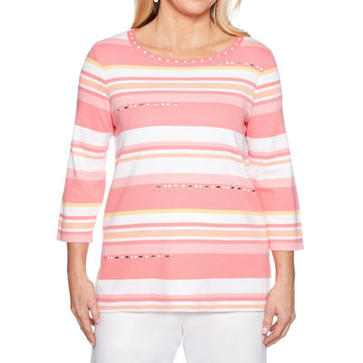 Alfred Dunner-Womens Crew Neck 3/4 Sleeve T-Shirt