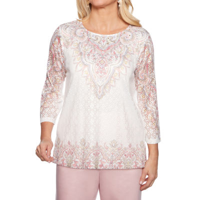 Alfred Dunner Society Page Womens Round Neck 3/4 Sleeve T-Shirt