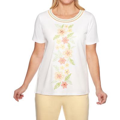 Alfred Dunner Endless Weekend-Womens Round Neck Short Sleeve T-Shirt