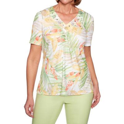 Alfred Dunner Endless Weekend-Womens V Neck Short Sleeve T-Shirt