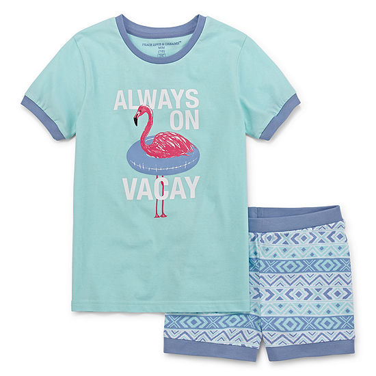 Peace Love And Dreams Girls 2-pc. Mommy and Me Shorts Pajama Set