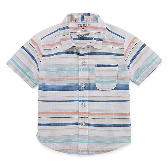 Okie Dokie Boys Short Sleeve Button-Front Shirt Baby