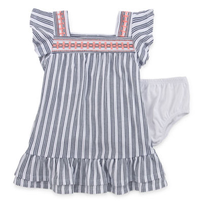 Okie Dokie Short Sleeve Flutter Sleeve A-Line Dress - Baby Girls