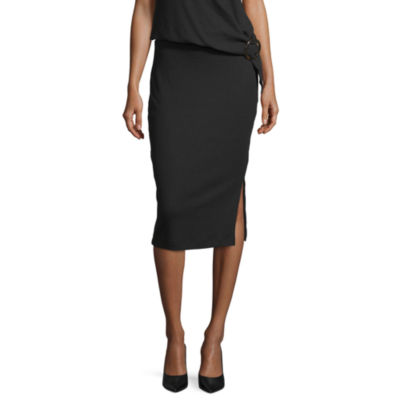 Worthington Womens Mid Rise Midi A-Line Skirt