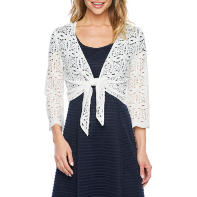 Ronni Nicole Womens 3/4 Sleeve Medallion Shrug