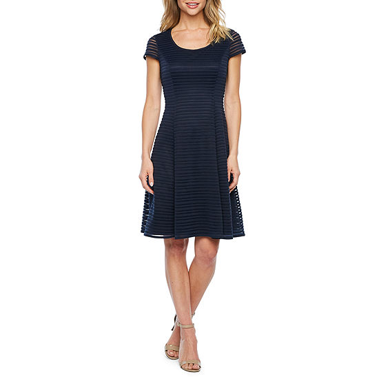 London Style Short Sleeve Shadow Stripe Fit & Flare Dress