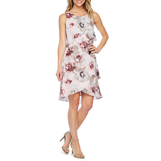 S. L. Fashions Sleeveless Floral Shift Dress