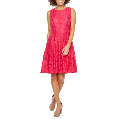 Studio 1 Sleeveless Floral Lace Fit & Flare Dress