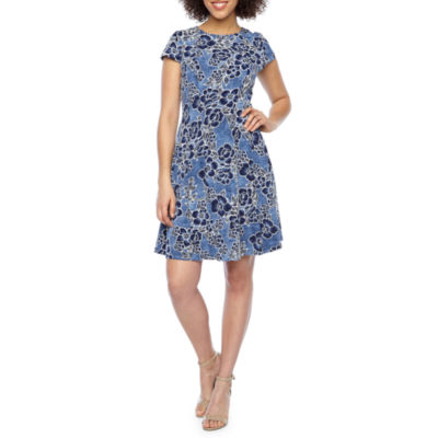 Studio 1 Short Sleeve Floral Puff Print Fit & Flare Dress