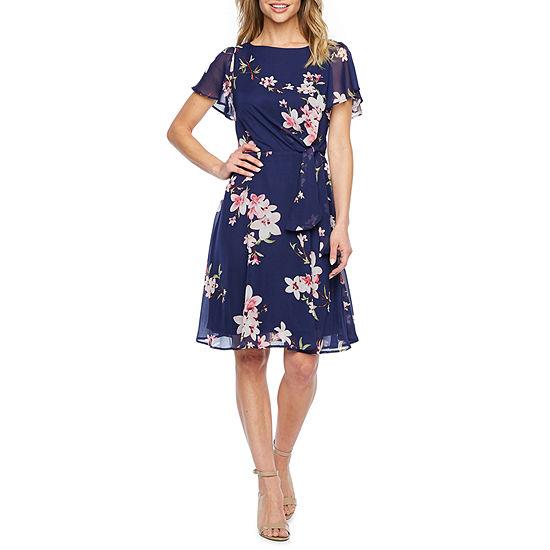 R & K Originals Short Sleeve Floral Fit & Flare Dress