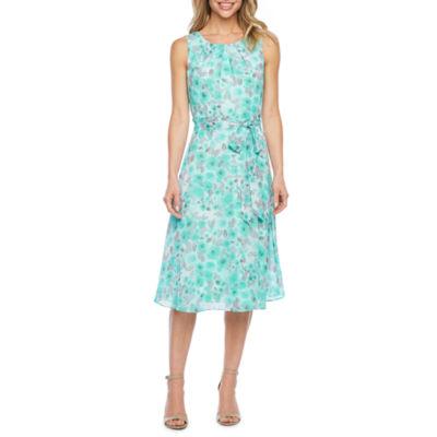 R & K Originals Sleeveless Floral Fit & Flare Dress