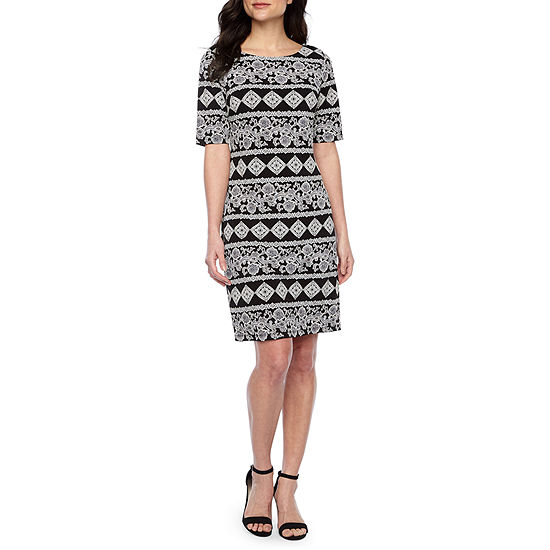 R & K Originals Short Sleeve Puff Print Shift Dress
