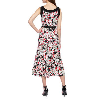 Perceptions Sleeveless Floral Puff Print Fit & Flare Dress