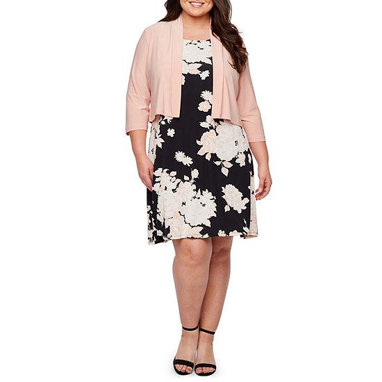 Ronni Nicole 3/4 Sleeve Floral Puff Print Jacket Dress-Plus