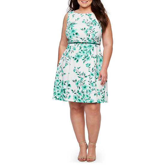 Alyx Sleeveless Floral Fit & Flare Dress-Plus