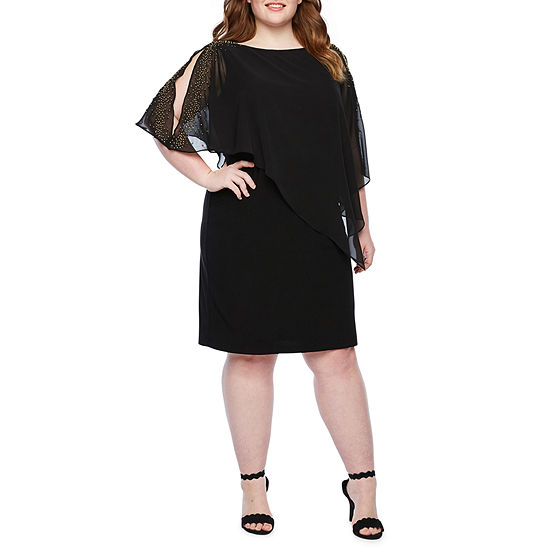 Scarlett Short Sleeve Beaded Cape Sheath Dress-Plus