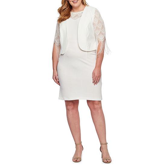 Maya Brooke 3/4 Fringe Sleeve Jacket Dress-Plus
