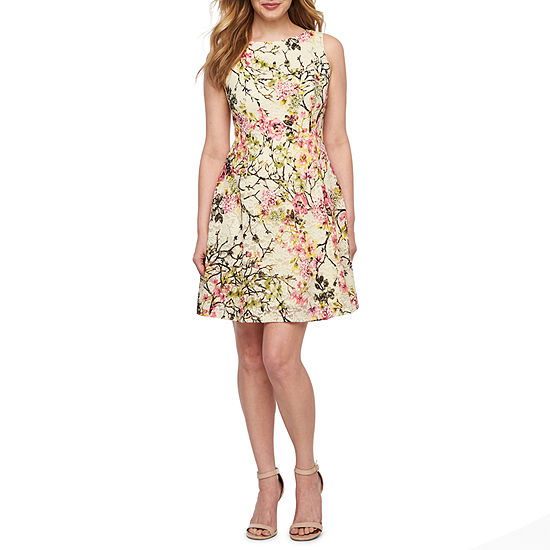 Ronni Nicole Sleeveless Floral Lace Fit & Flare Dress-Petite
