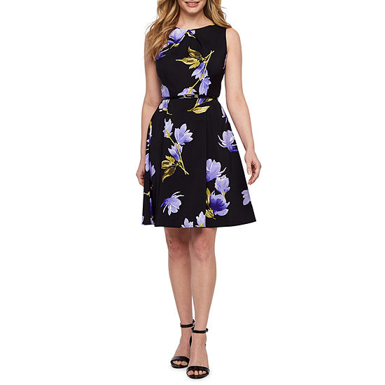 Alyx Sleeveless Floral Belted Fit & Flare Dress-Petite