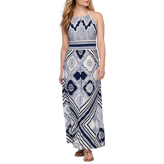 London Style Sleeveless Medallion Maxi Dress Petite
