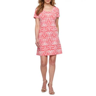 Ronni Nicole Short Sleeve Scroll Puff Print A-Line Dress-Petite