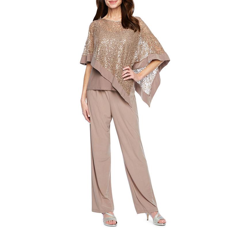 Vintage High Waisted Trousers, Sailor Pants, Jeans R  M Richards Short Sleeve Cape 2 pc Pant Set Womens Size 16 Brown $90.00 AT vintagedancer.com