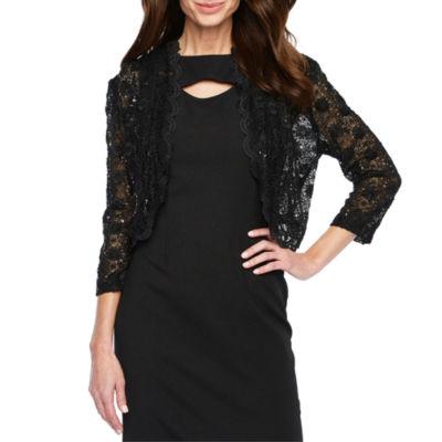 R & M Richards Womens 3/4 Lace Sleeve Shrug
