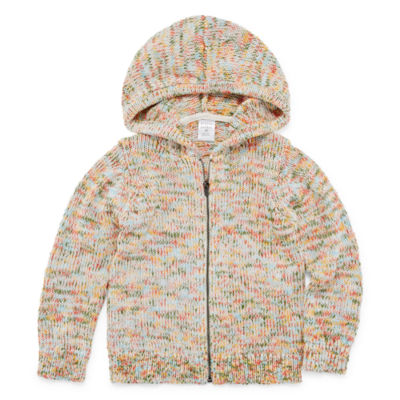 Peyton & Parker Girls Hooded Neck Long Sleeve Cardigan Toddler