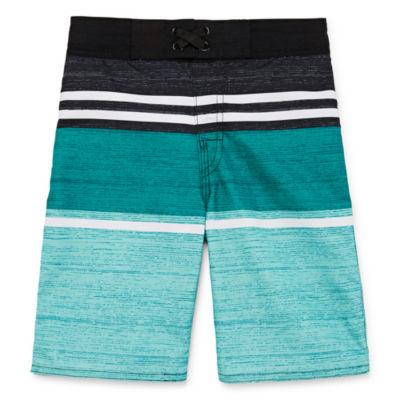Arizona Boys Striped Swim Trunks-Big Kid