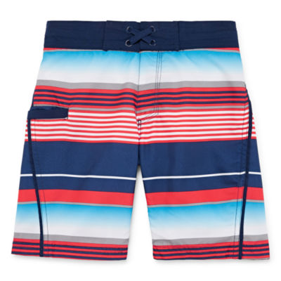 Arizona Boys Striped Swim Trunks-Big Kid