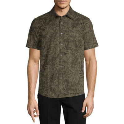 St. John's Bay No Tuck Mens Short Sleeve Leaf Button-Front Shirt