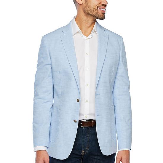 Stafford Light Blue Slub Slim Fit Sport Coat