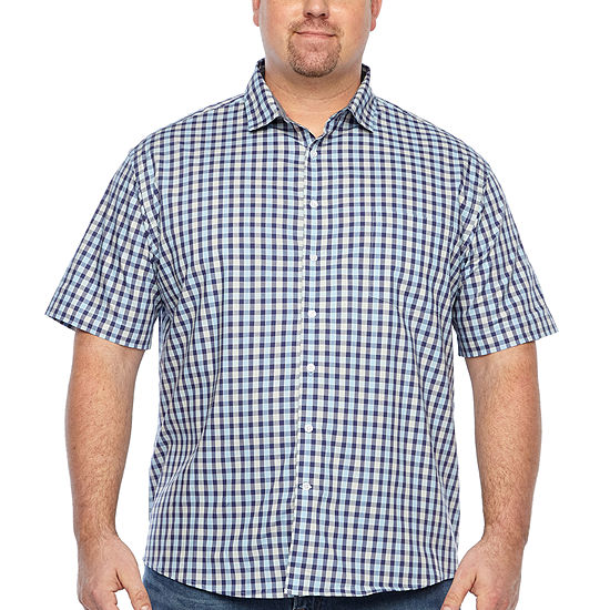 Claiborne Big and Tall Mens Short Sleeve Leaf Button-Down Shirt