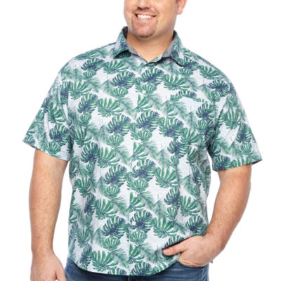 Claiborne Mens Short Sleeve Leaf Button-Front Shirt Big and Tall