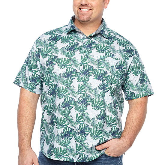Claiborne Big and Tall Mens Short Sleeve Leaf Button-Front Shirt
