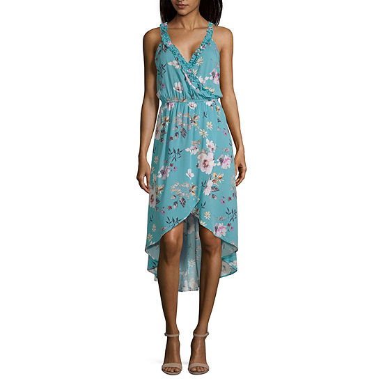 Society And Stitch-Juniors Sleeveless Floral Wrap Dress