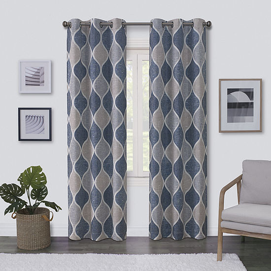Regal Home Surfaces Ogee Light-Filtering Grommet-Top Single Curtain Panel