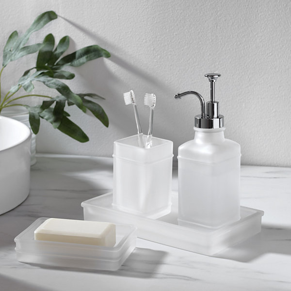 Fieldcrest Frosted Glass Bath Accessories Collection